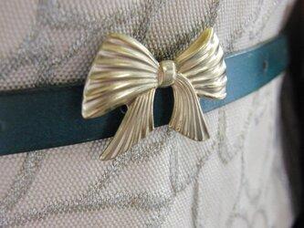 真鍮ブラス製 華やかなリボン型帯留め 着物浴衣の帯締めの飾り・ブレスやチョーカー飾りにの画像