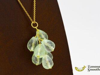 みずみずしい プレナイト ぶどうネックレス ドロップ ブリオレットカット 14kgfネックレスの画像