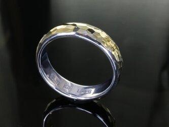 指輪 メンズ : 甲丸 丸 鎚目 シルバー リング 5mm幅 シルバー×K18 14~26号 シンプルの画像