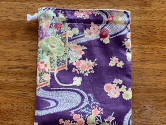 紫の和風*巾着袋の画像