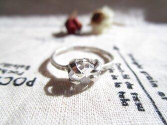 silver ハーキマーダイヤモンド 中 リングの画像