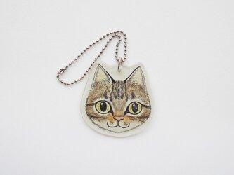 猫顔プラバンチャーム(キジトラ)の画像