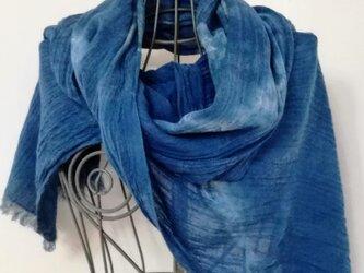 藍染 藍の大判ストール コットン100% 1点ものの画像