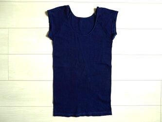 ◆100%自然素材 天然灰汁発酵建て 本藍染◆ オーガニックコットン100 フレンチ袖トップスの画像