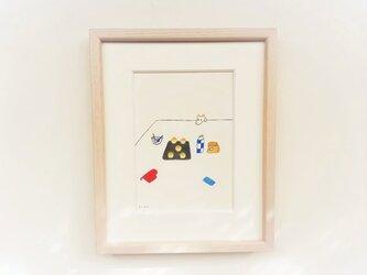 【受注制作】「パンを焼いた日」 イラスト原画 ※木製額縁入りの画像