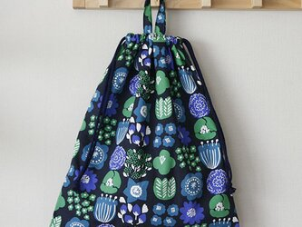 大人のお着替え袋 北欧の花 ネイビーの画像