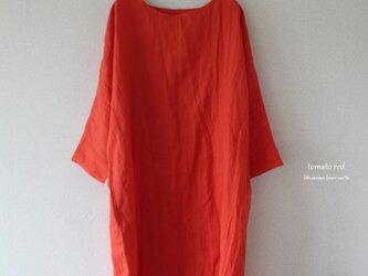 ドルマンスリーブワンピース*lithuanian linen トマトレッド【受注生産品】の画像
