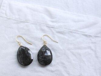 Black Rutilated Quartz earrings ブラックルチルクォーツのピアス/イヤリング 14KGFの画像