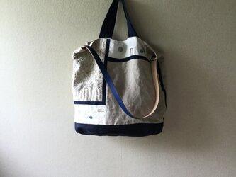 フランス産ジャガード織りリネンと刺し子のバッグの画像