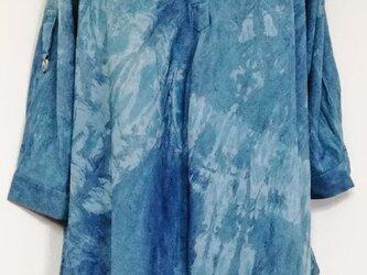 藍染 藍染絞り入りチュニック ブルー1の画像