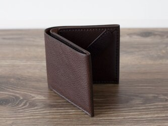 イタリア製牛革のシンプルな二つ折り財布 / チョコ※受注製作の画像