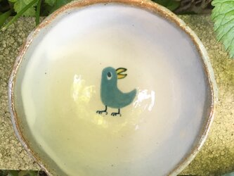 青い鳥のご飯茶碗の画像