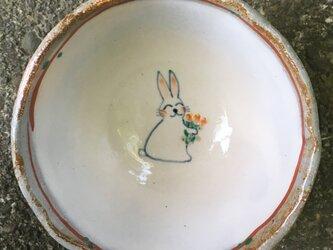 花束をどうぞ♪うさぎのご飯茶碗の画像