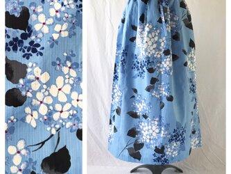 【和柄】時鳥スカート85cm(紫陽花:酸性のブルー)の画像