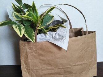 米袋バッグ★ちっちゃい『お袋さん』白ステッチ★バゲットバッグの画像