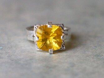 古代スタイル*天然イエロー・フローライト 指輪*8号 SVの画像