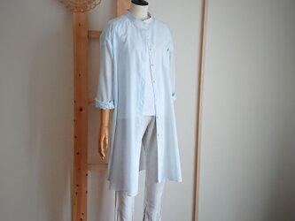 刺繍入り*水色ストライプのロングシャツ*薄手*1点ものの画像