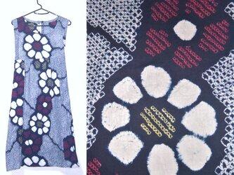 Sold Out浴衣リメイク♪ひまわり模様有松総絞り浴衣チュニックワンピース♪ハンドメイド・コットン・天然素材・藍染めの画像