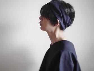 ターバンなヘアバンド ストライプネイビー 送料無料の画像