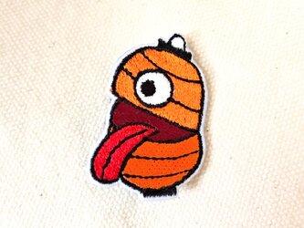 刺繍ブローチ 「提灯おばけ:橙」の画像