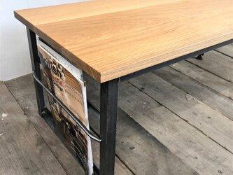 ローテーブル【アイアン家具/Iron Side table】ホワイトオークの画像
