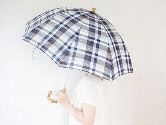 リネン日傘 ブルー×ブラウンの画像