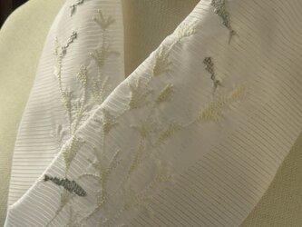 半衿・刺繍ポリ絽・水草と金魚・モノトーンの画像