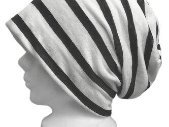 ボーダー柄リネンニット/ルーズワッチキャップ(ゆったり)◆ホワイト×ブラックの画像