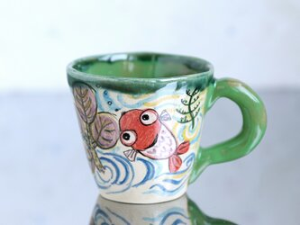 手びねりマグ・金魚(緑色の取っ手)の画像