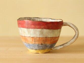 ※A様専用画面 受注制作粉引き手びねりカラフルボーダーのカップ。の画像