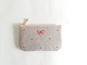 dot coin-purse (linen × red)の画像