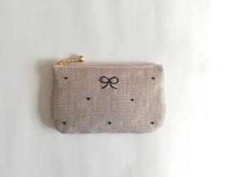 dot coin-purse (linen × black)の画像