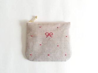 dot square coin-purse (linen × red)の画像