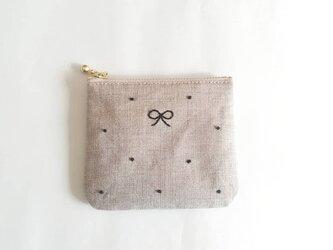 dot square coin-purse (linen × black)の画像
