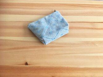 【受注制作】アクアブルージャカード織生地のポーチの画像