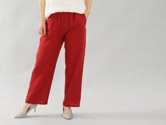 【wafu】薄地 雅亜麻 リネン パンツ リラックスパンツ ボトムス ウエストゴム ポケット / 紅色【M】b001a-bne1の画像