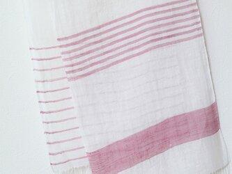 手織り・草木染め リネンストール ピンクボーダーの画像