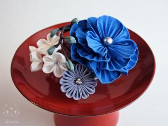 ✤ 小さな箱庭 ✤ つまみ細工 青 ミニコーム 着物 浴衣 和装小物 夏祭りの画像