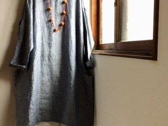 リネン100 ビックポケット付きワンピース ダンガリーネイビー の画像