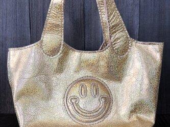 キラキラ ニコちゃんバッグ(ゴールド)の画像