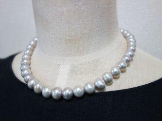 mさまご検討品 11mm 大珠グレーパールネックレスの画像