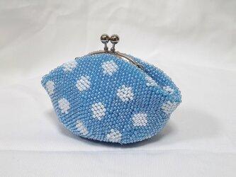 ビーズ水玉・鉤針編みがま口の画像