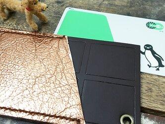 板チョコ 本革 イニシャル パスケース ★ 片面ポケット ICカードケース チョコレート エンボス 手縫いの画像