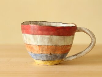 ※atuko様専用画面 受注制作粉引き手びねりカラフルボーダーのカップ。の画像