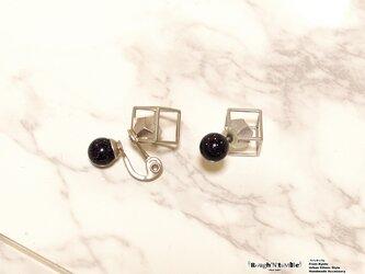 Cube catch pierce silver×bule gold stone(片耳販売)の画像