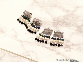 Diamond pattern ethnic fringe pierce silverの画像