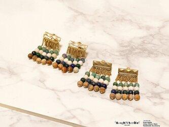 Diamond pattern ethnic fringe pierce goldの画像