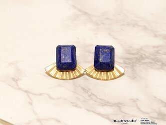 Rectangle stone 扇 pierce lapis lazuliの画像
