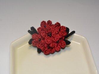 小花のヘアゴム・深紅の画像