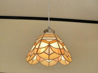 特大・サーモンピンク・オレンジ(ステンドグラスペンダントライト)吊り下げ照明・ガラス  LLサイズ・(コード長さ調節可)28の画像